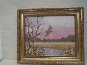 Splendid original oil painting with gilt wooden frame  SUNSET ON THE MARSHES