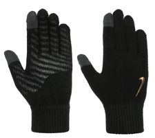 Nike Gloves Knitted Mens Tech and Grip Black Gold Logo Brand New  SIZE S/M