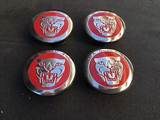 NEW JAGUAR SET OF 4 RED JAG WHEEL HUB CAPS LOGO RIM 59MM COVER EMBLEM CAP 4PC