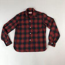 Womens Vtg 1950's Pendleton Red & Green Plaid Wool L/S Shirt Sz S Christmas