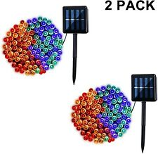 2 Pack Solar String Lights, 8 Modes Outdoor 42ft 100LED Waterproof Lights