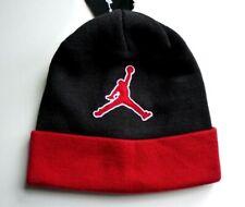 NIKE JORDAN Brazalete Negro Rojo Air Beanie Sombrero Sombrero de toque Osfa  Etiquetas b46a7cb294b