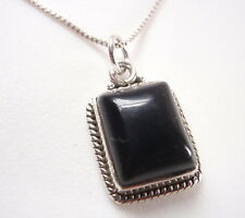 Black Onyx with Fine Rope Style Accents 925 Sterling Silver Pendant Corona Sun