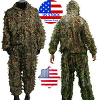 Mens Hunting Ghillie Suit 3D Camo Bionic Leaf Camouflage Jungle Jacket&Pant Set