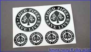 CAFE RACER Chequered Flag LOUD PIPES SAVE LIVES Decals Stickers Honda BSA BMW
