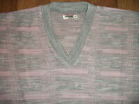Mens stylish pink and grey jumper, british made, Brand New, Small/Medium/Large