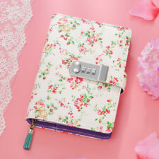 A6 Mini Floral Secret Lock Leather Journal Diary with Tassel Bookmark Girls Gift