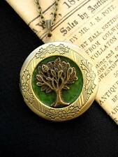 Tree of Life LOCKET Necklace Pendant Gothic Green Leaf Antique Bronze Fairy Fae