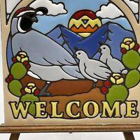 Earthtones USA Ceramic Art Tile Trivet Welcome Sign With Quails