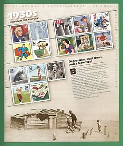 3185 US NH Mint Sheet Celebrate the Century 1930's Depression issued year 1998