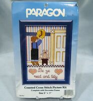 """Paragon Counted Cross Stitch Picture Kit #8089 TIDY BOY 5"""" x 7"""" New Sealed"""