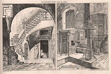 1881 ANTIQUE ARCHITECTURAL PRINT-COURTYARD LECCI, ITALY, DETLING CHURCH KENT