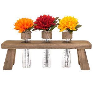 Unique Rustic Flower Holder: Includes 3 Test Tubes Glass Vases