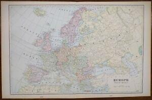 "Vintage 1901 EUROPE Map 22""x14"" ~ Old Antique Original AUSTRIA IRELAND FRANCE UK"