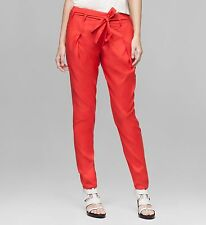 "$360 Helmut Lang sz 0 29"" x 27"" Red Voyage Cropped Pant Women Lady MADE USA NWT"