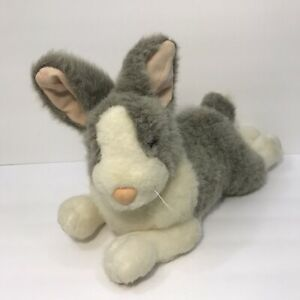 "Vintage Applause Bravo ""Buffy"" Bunny Rabbit Gray White Stuffed Plush Animal Toy"