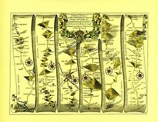Dartmouth to Minehead inc.Newton Abbot, Tiverton  Replica 17c OGILBY Old Map