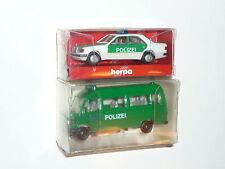 Herpa  - 041416 Mercedes 300E Polizei & MB 507 D Bus Polizei -  Neu  X167X