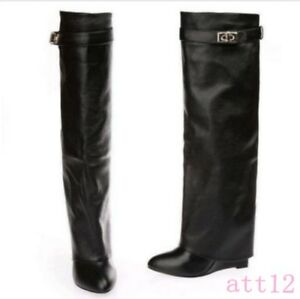 Chic Leather Over Knee High Boot Chic Womens Wedge Heel Fold New Over Boot Shoes