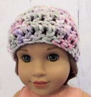 "Cute Pastel Colors Crocheted Hat fits American Girl Dolls 18"" Dolls"