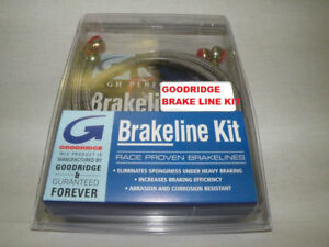 "45"" Front Brake Line Kit by Goodridge w/ Banjos Coated Stainless Steel Harley"
