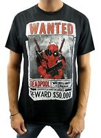 Marvel Men's Deadpool Wanted Armed and Dangerous Black T-shirt New