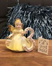 Vintage Josef Originals 3 Year Old Birthday Girl Angel Figurine In Yellow Japan