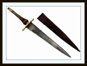 ANTIQUE AMERICAN REVOLUTION LARGE PLUG BAYONET DAGGER WITH LEATHER SCABBARD