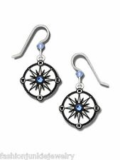 Compass Earrings - 925 Sterling Silver Ear Wire - NEW Black Blue Navigation