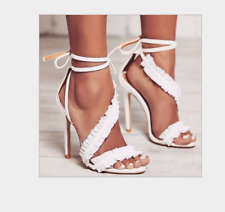 Women High Stieltto Heeel Lace Up Peep Toe Dress Sexy Gladiator Sandals White