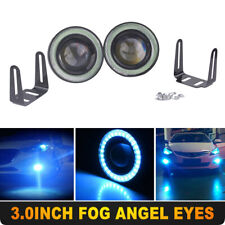 "Ice Blue 3"" Inch COB LED Fog Light Projector Car Angel Eyes Halo Ring DRL Lamp"