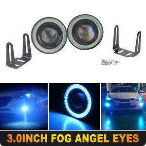 "Ice Blue 3"" Inch COB LED Fog Light Projector Car Angel Eyes Halo Ring DRL Lamp"