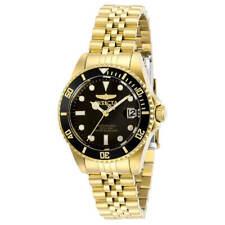 Invicta Women's Watch Pro Diver Quartz Black Dial Yellow Gold Bracelet 29190