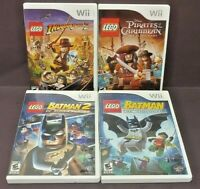 Nintendo Wii Wii U Game Lot LEGO Batman 1, 2, Pirates Caribbean Indiana Jones 2
