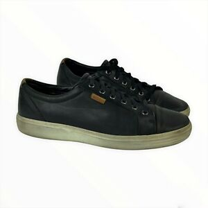 Men's ECCO US 10 44 Black Leather Lace Up Cap Toe Sneakers Oxfords Casual