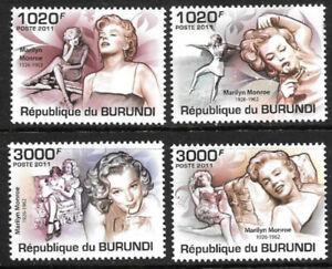 BURUNDI - 2009, #956-959 - COMPLETE SET, MARILYN MONROE, MNH, SCOTT $15.00