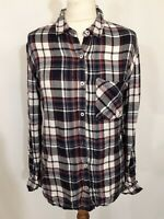 Charlotte Russe Brushed Cotton Flannel Shirt - Size L - Blue Red & White - Check