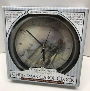 1994 THOMAS KINKADE XTKVC4 Victorian Musical Wall Clock 12 Christmas Carols