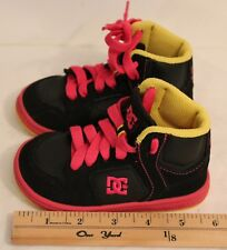 Dc Spark High Rs Toddler/Girls Size 6c Tennis Shoes Black/Pink/Yellow