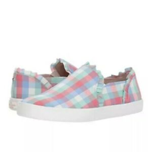 $98 KATE SPADE Pastel Gingham Lilly Slip-On Loafer Sneaker Plaid Pink Blue Green