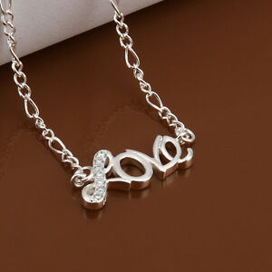925 STERLING SILVER 27cm LOVE ANKLET CRYSTAL DIAMOND  FIGARO CHAIN KPAN11
