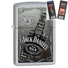 Zippo 29285 Jack Daniel's Collage Satin Lighter with *FLINT & WICK GIFT SET*