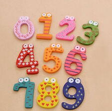 New Cute Kid Baby Toy Gift Set 10 Number Wooden Fridge Magnet Education Learning