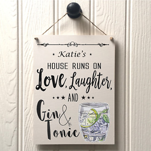 Gin & Tonic Sign Drinks O'Clock- Personalised Gin Sign New Home Drinks Gift