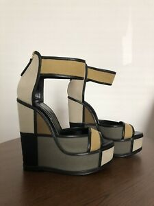 Pierre Hardy Olive Colorblock Canvas Platform Wedge Sandals 38
