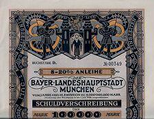 8-20% Anleihe der Bayer. Landeshauptstadt München, 1923 (100.000 Mark) + Coupons