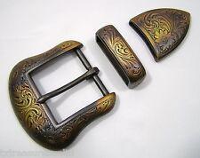 "BELT BUCKLES metal casual western accessories copper 3pc BUCKLE SET 1.5"" NWOT!"