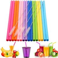 Reusable Silicone Drinking Straws Food Grade Straw with Cleaning Brushes Set 8+4