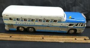 Vintage Japanese Tin Litho Friction Bi Level Greyhound Bus Express Scenicruiser