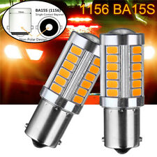 2x 1156 BA15S 33LED 5730 SMD Amber Yellow Car Light Bulb Backup Reverse Lamp 12V